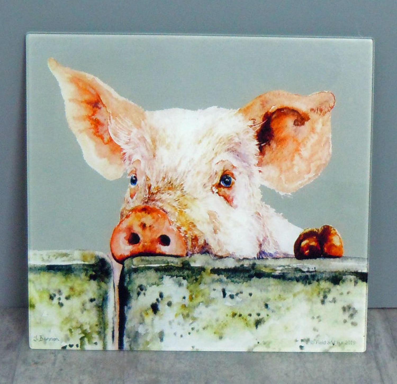 Glass Pig chopping board, worktop saver
