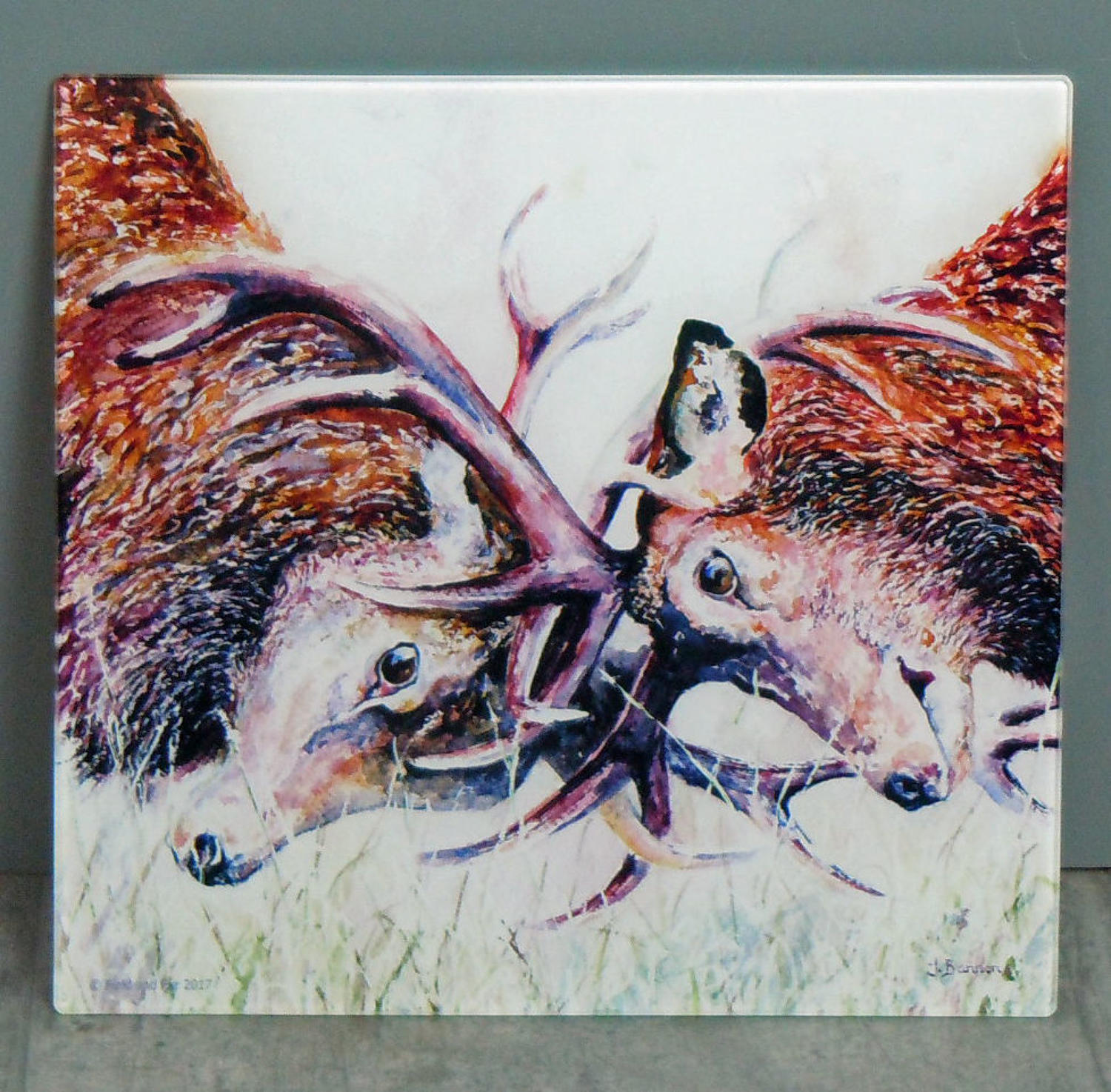 Glass Stag chopping board, worktop saver