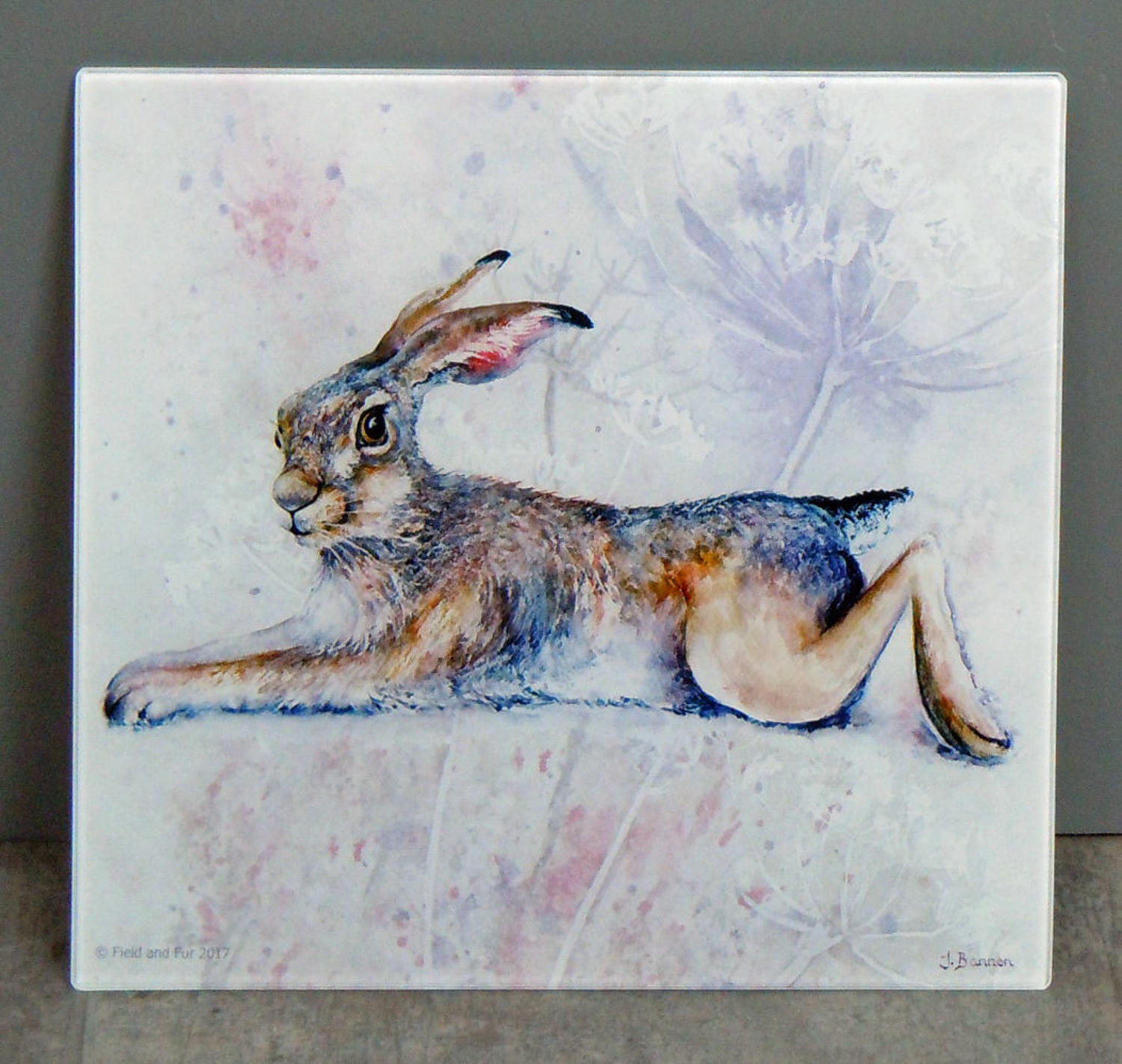 Glass Hare chopping board, worktop saver
