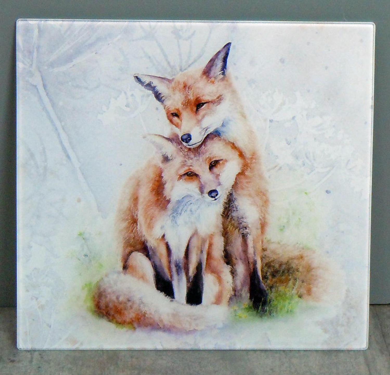 Glass Fox chopping board, worktop saver