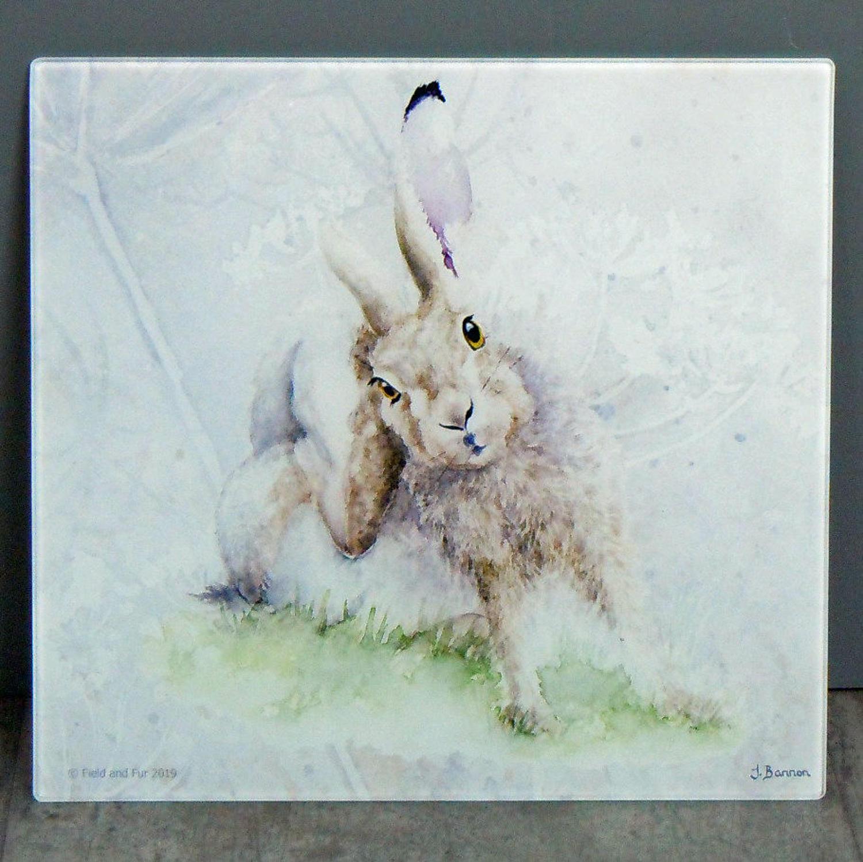 Glass Hare chopping board, worktop saver