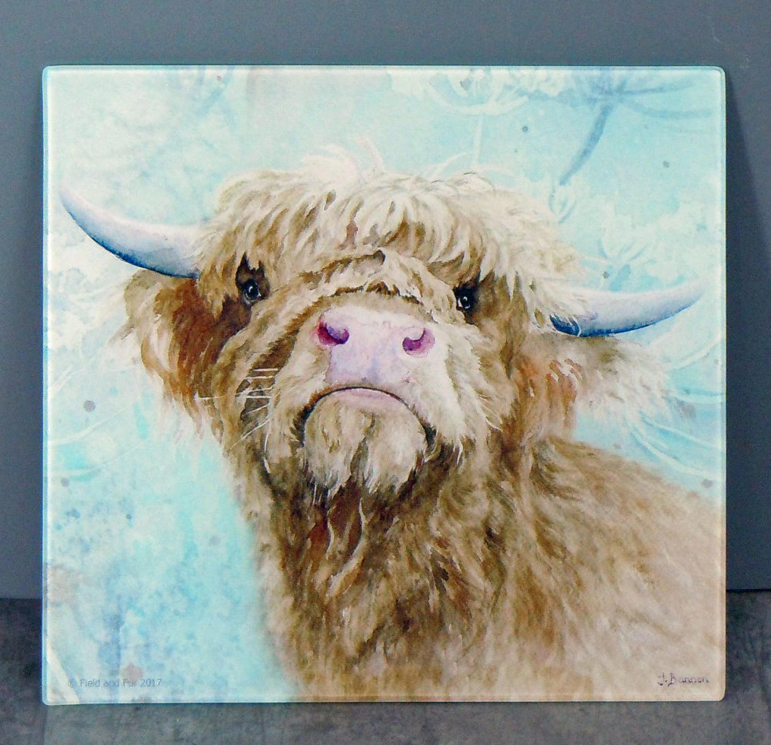 Glass Highland Cow chopping board, worktop saver