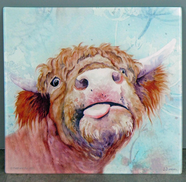 Glass Highland cow chopping board, worktop saver