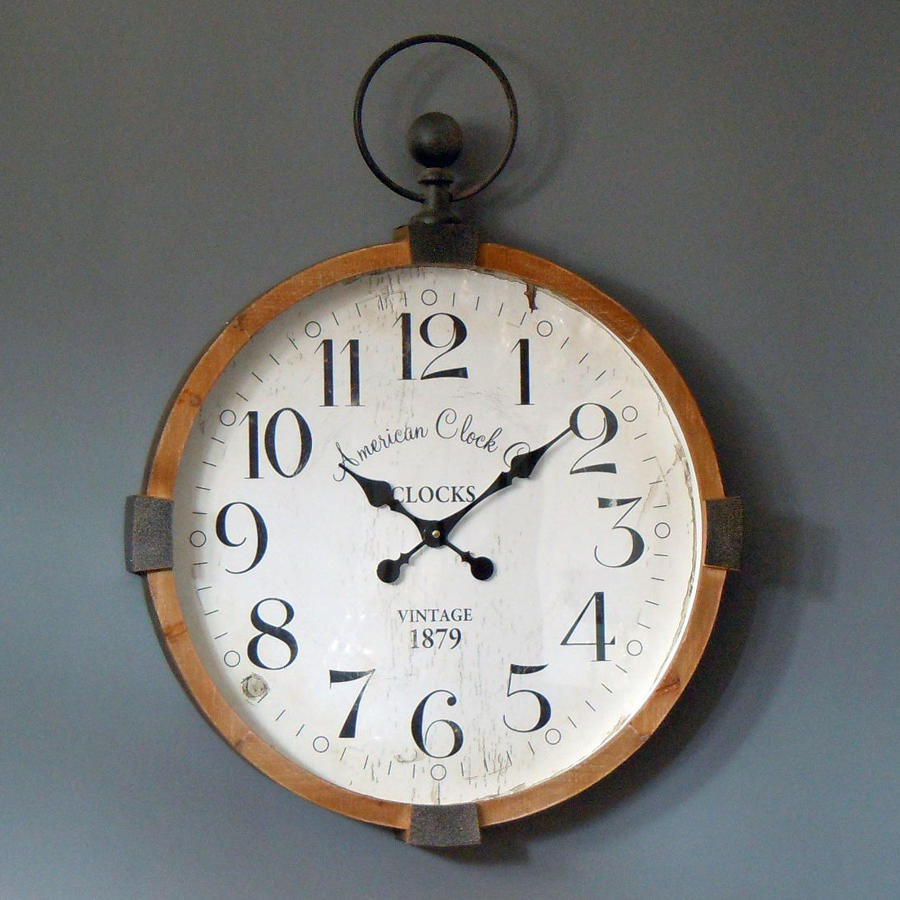 Rustic industrial wood and metal round wall clock
