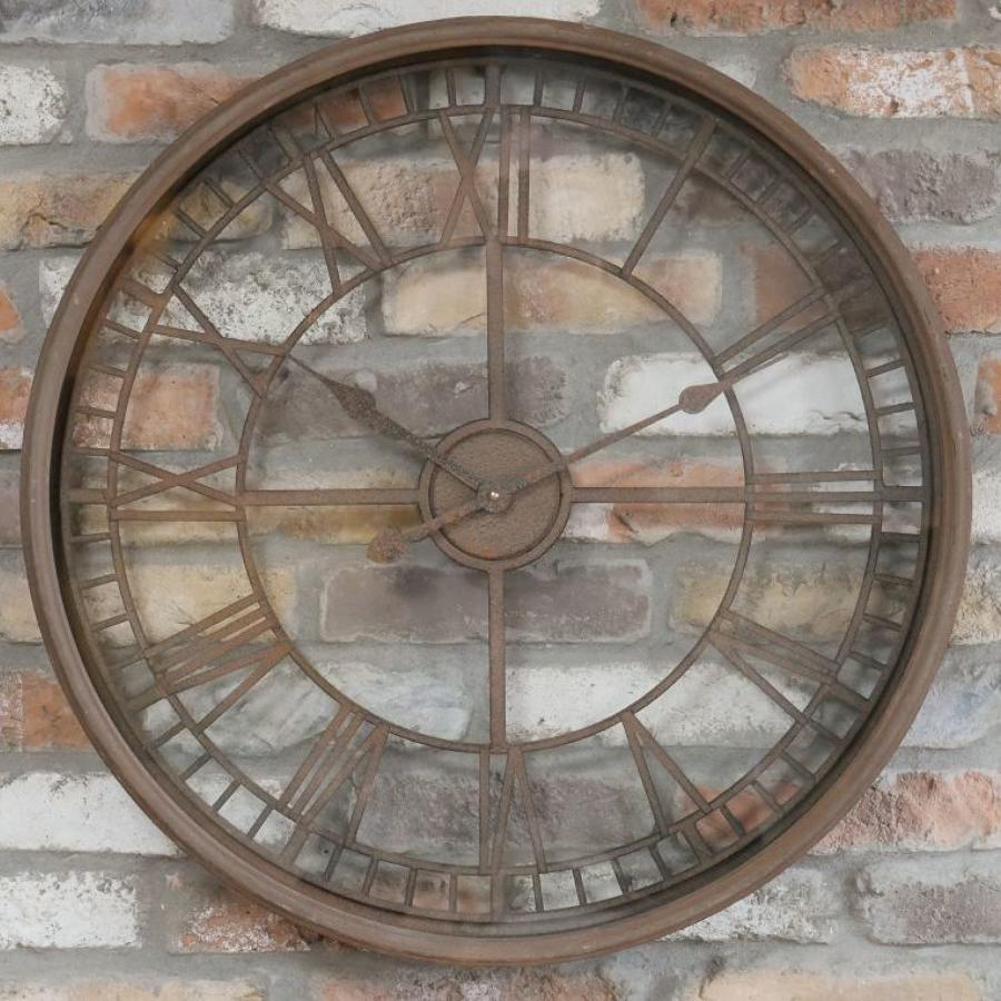 Rustic round metal wall clock
