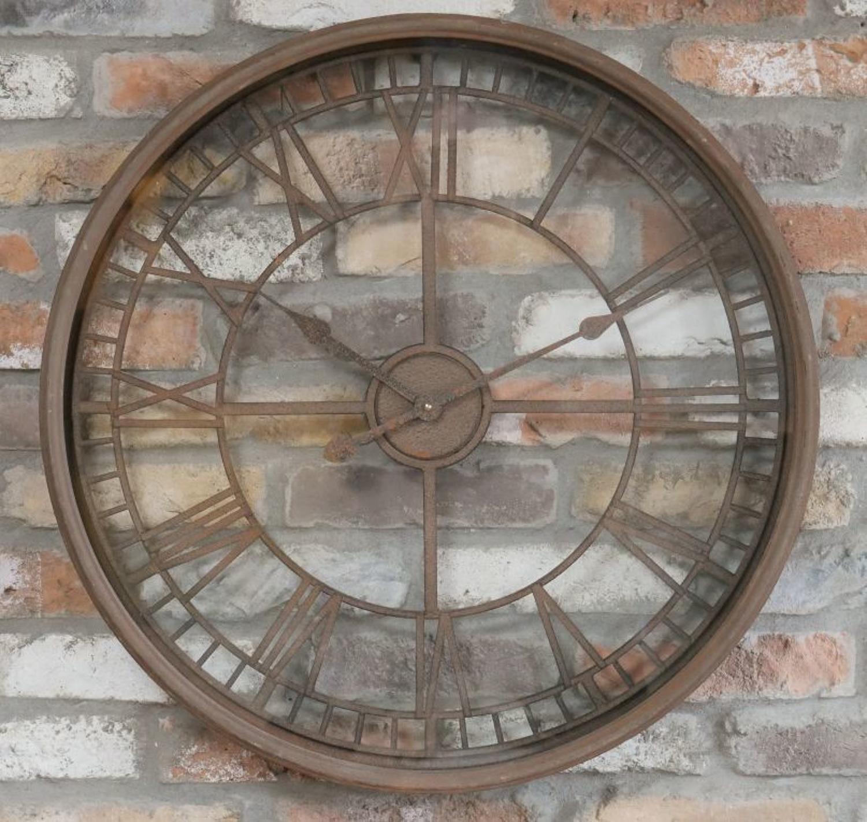 Rustic round metal wall clock