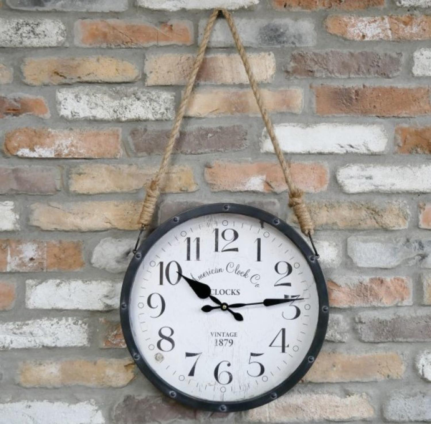 Industrial round metal wall clock with rustic rope