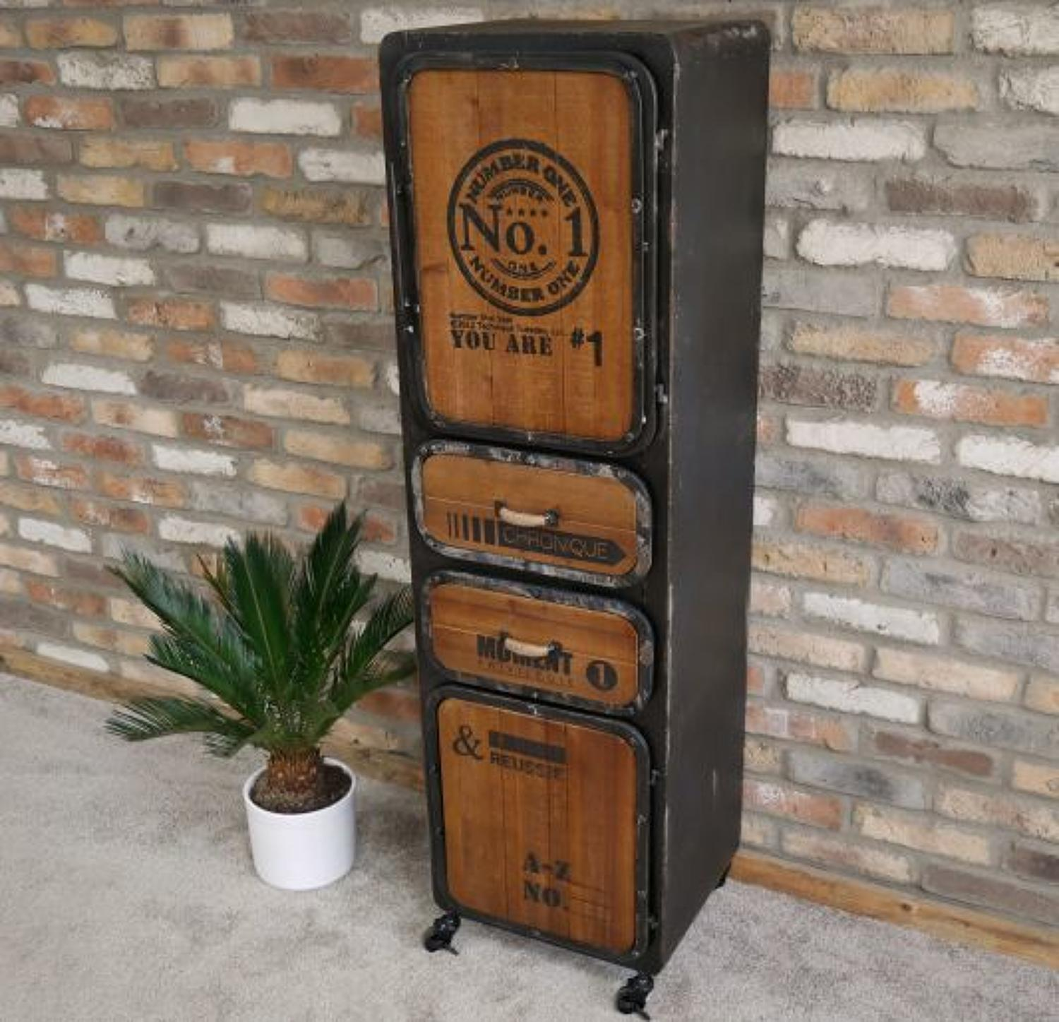 Industrial metal and wood tall cabinet with drawers on wheels
