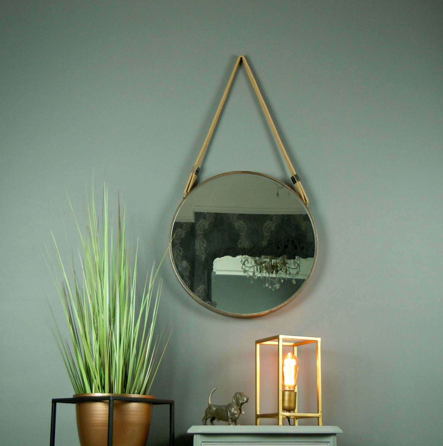 Industrial round metal mirror in rustic copper effect