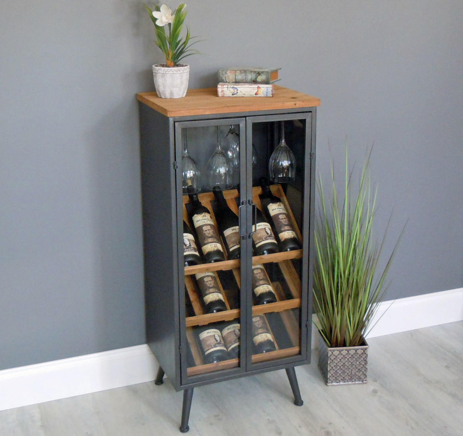 Industrial wood and metal wine cabinet