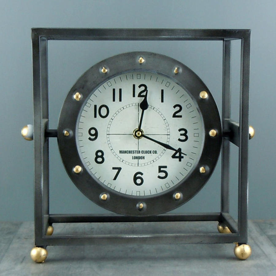 Industrial style metal frame mantle clock