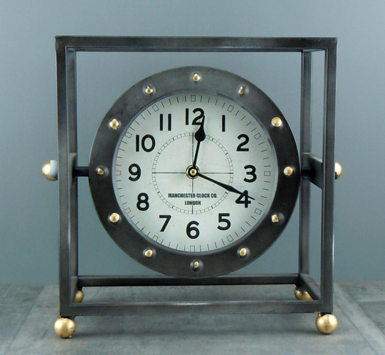 Industrial style metal frame mantle clock
