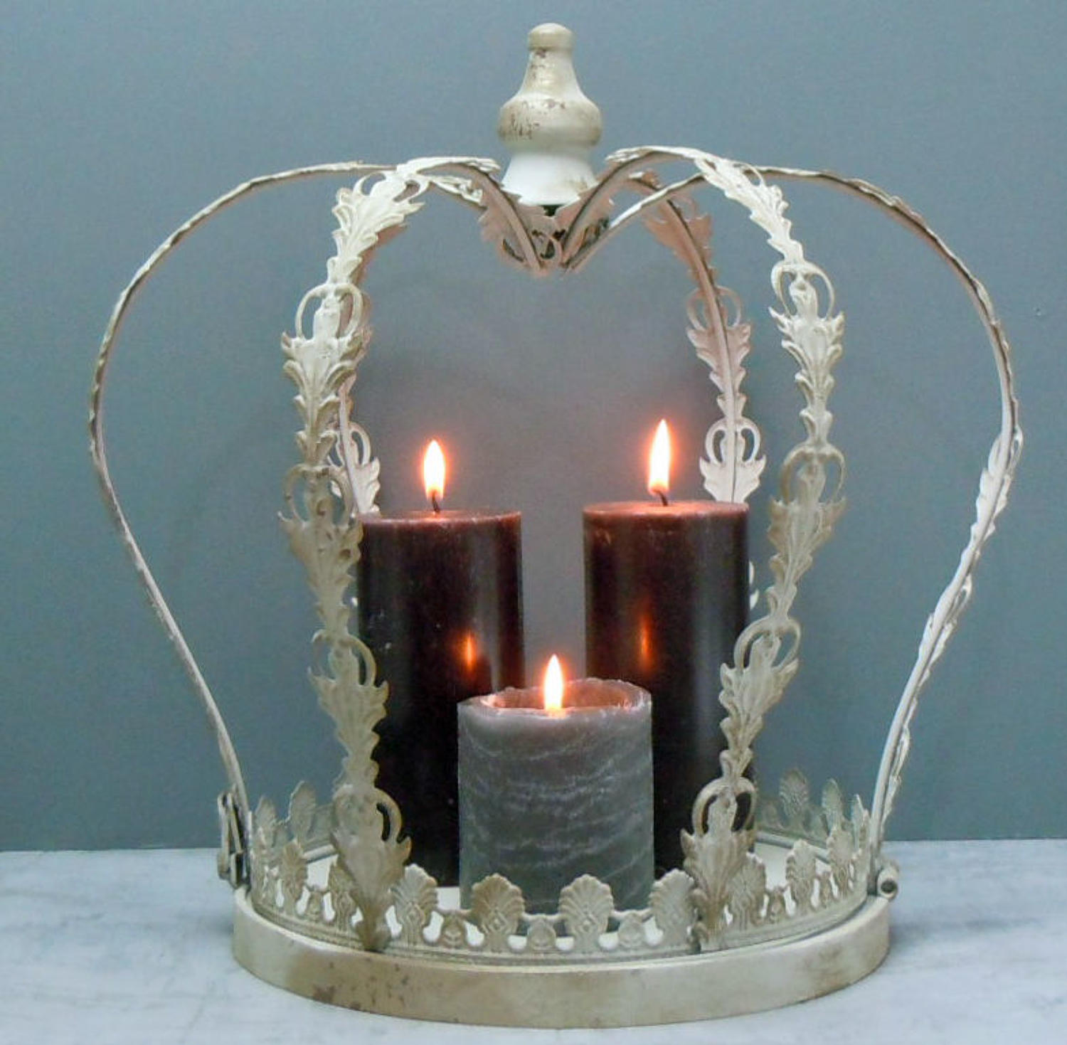 Distressed cream metal Crown candle holder