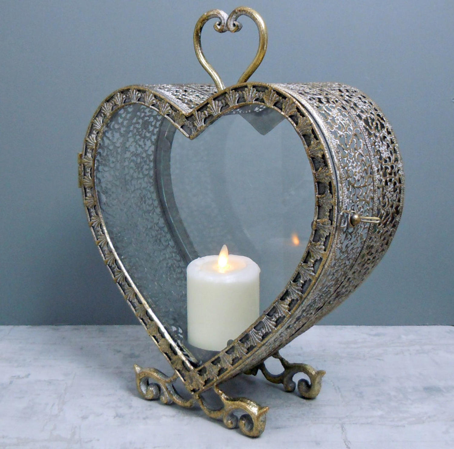 Rustic gold metal heart candle holder lantern