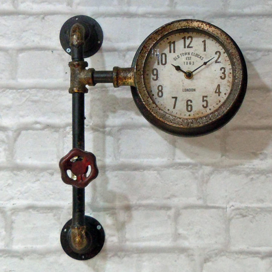 Industrial pipework metal wall clock