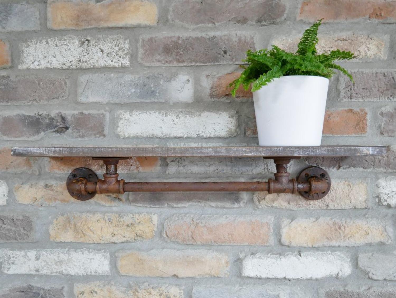 Rustic industrial wood and metal shelf