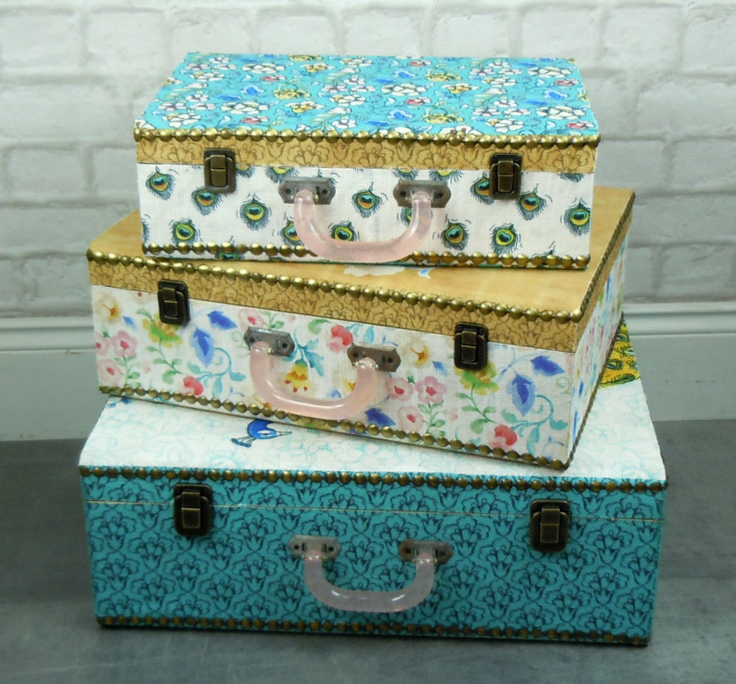 Decorative Fabric covered wooden Peacock & Flowers cases