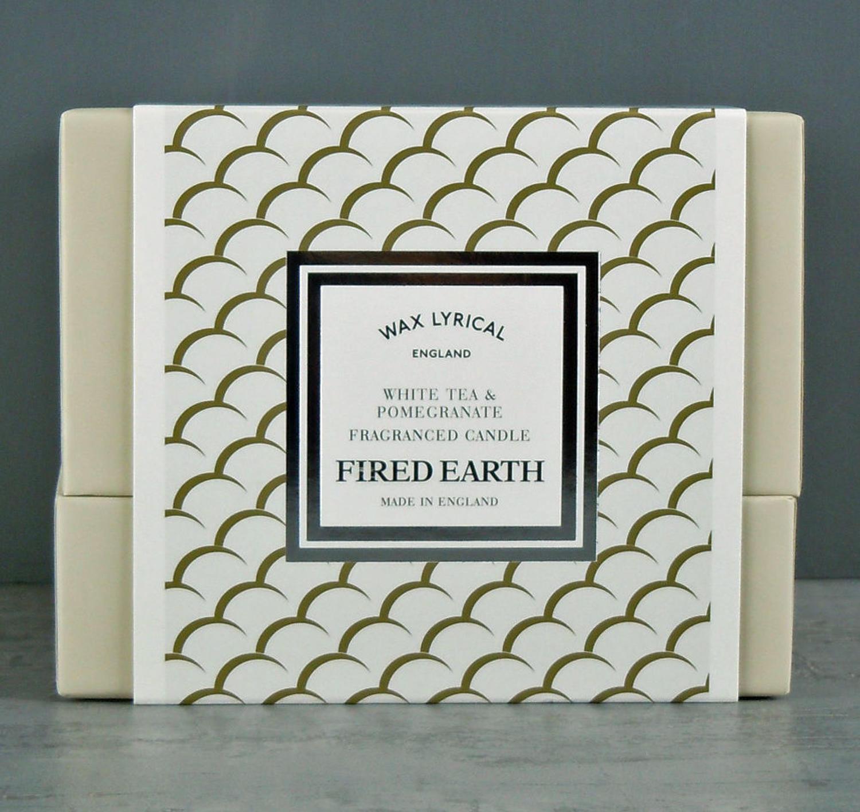 Fired Earth White Tea & Pomegranate Ceramic twin wick Candle