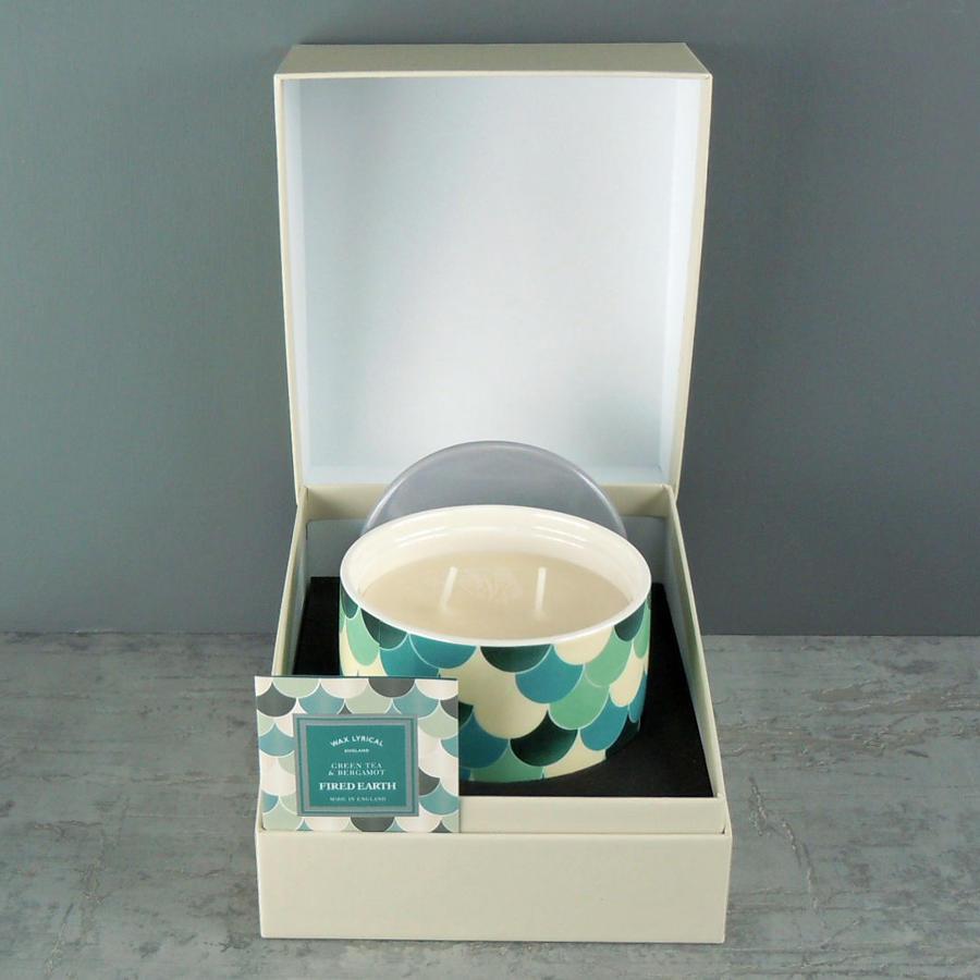 Wax Lyrical Fired Earth Green Tea & Bergamot Ceramic twin wick Candle