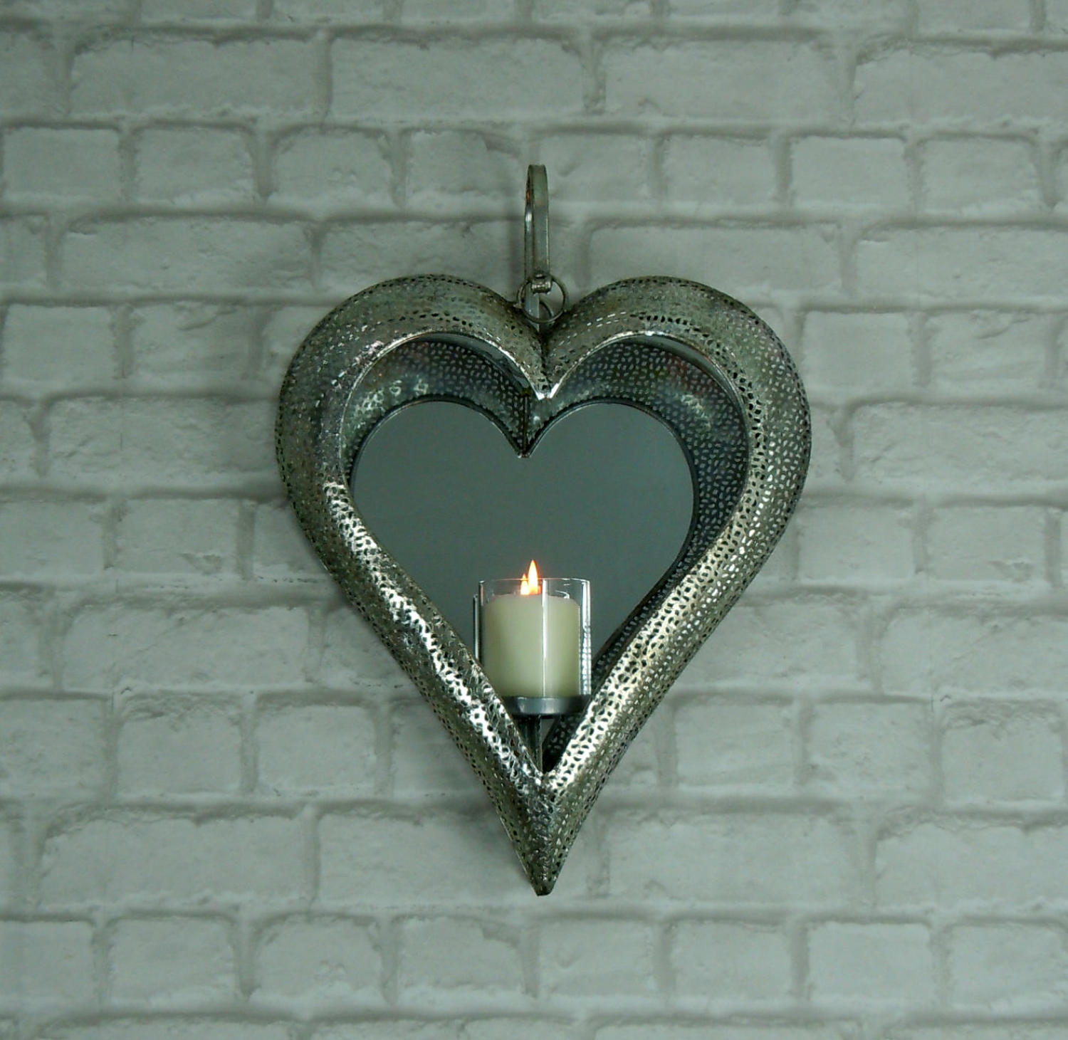 Antique silver heart mirrored tealight lantern holder