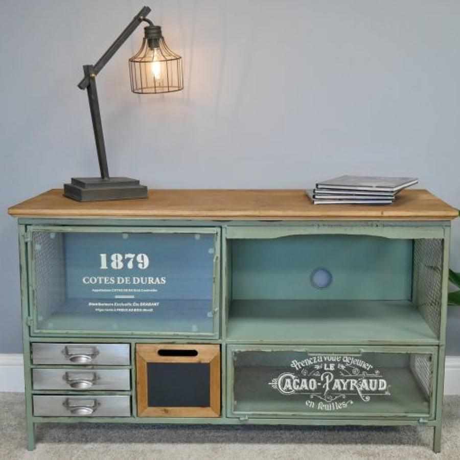 Metal and wood Industrial TV Cabinet