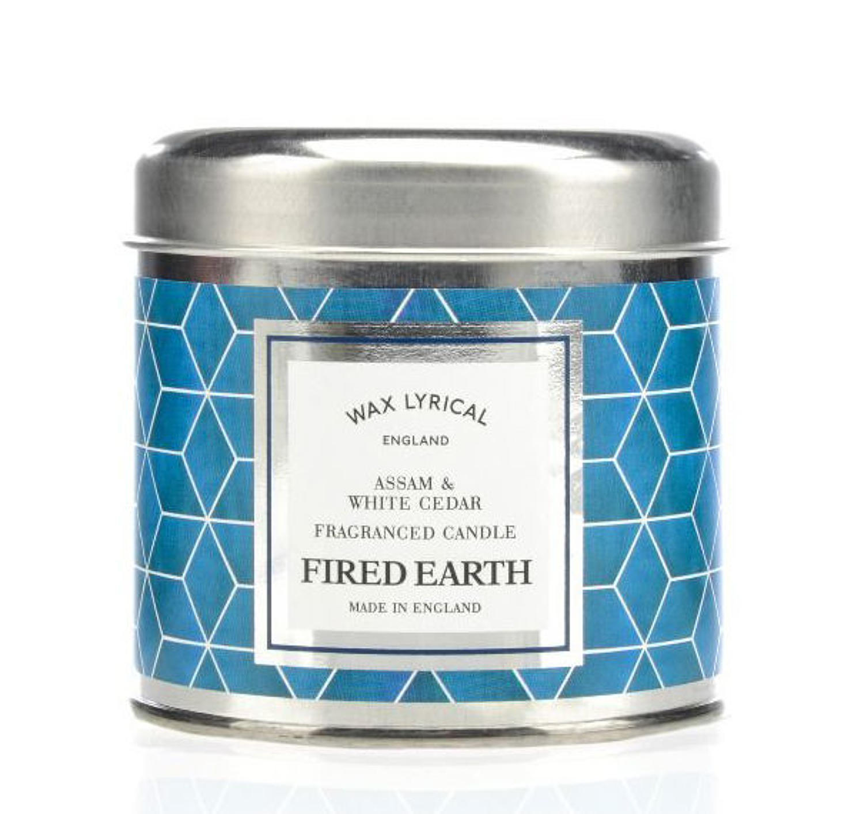 Wax Lyrical Fired Earth Assam & White Cedar candle tin