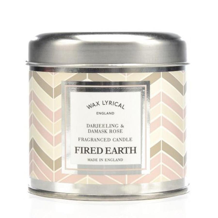 Wax Lyrical Fired Earth Darjeeling & Damask Rose candle tin