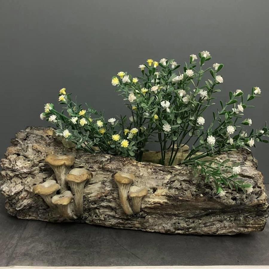 Rustic log planter