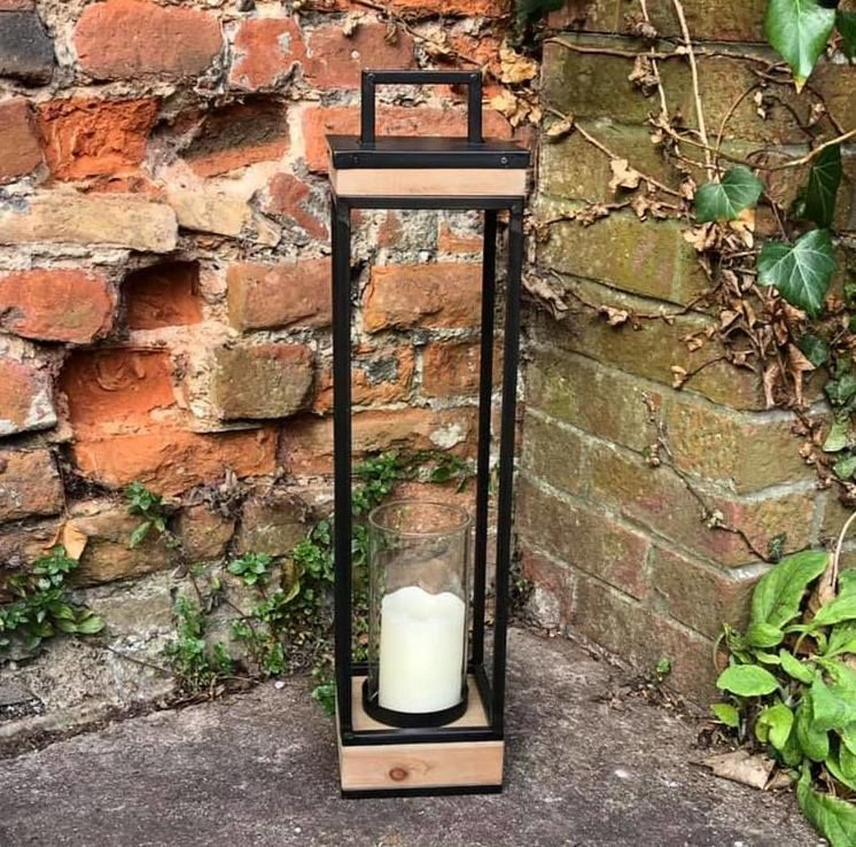 Tall wood and metal lantern