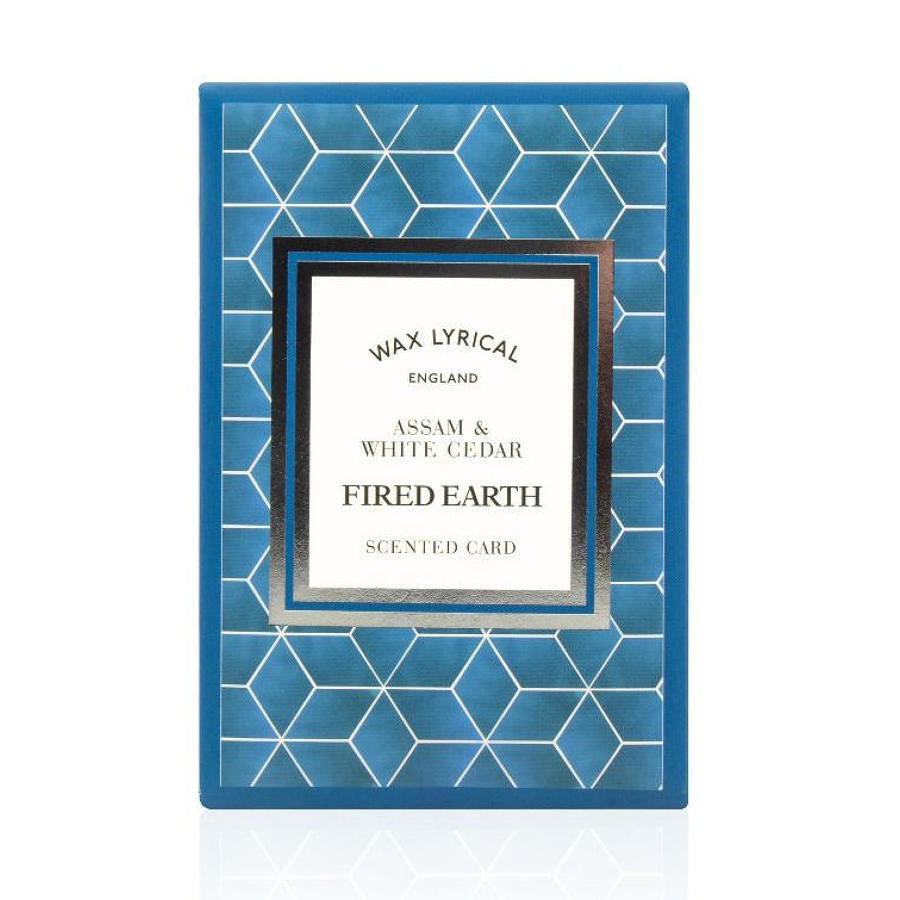 Wax Lyrical Fired Earth Assam & White Cedar scented polymer card
