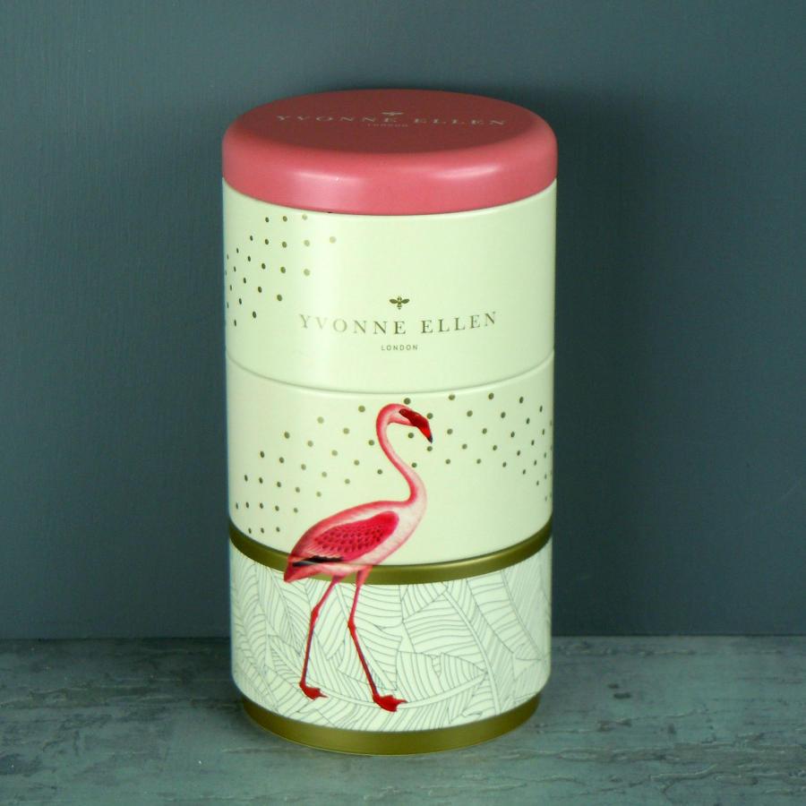 Yvonne Ellen Fancy Flamingo 3 stacking tin candles