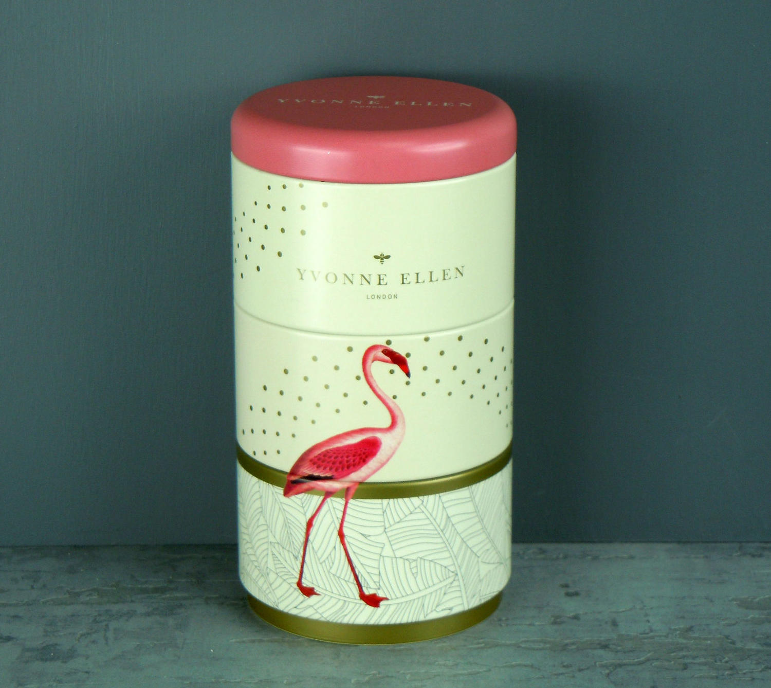 Yvonne Ellen Fancy Flamingo 3 stacking tin candles
