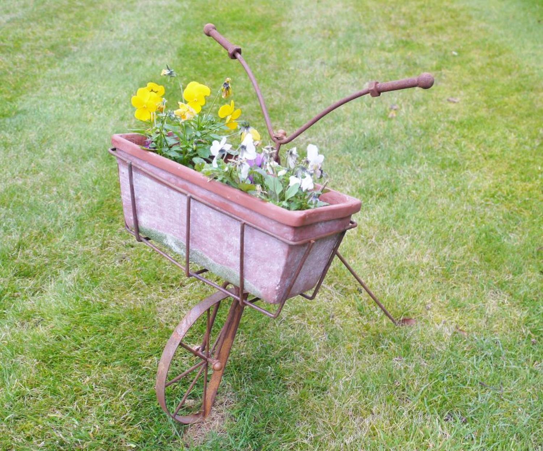 Rustic metal bike planter