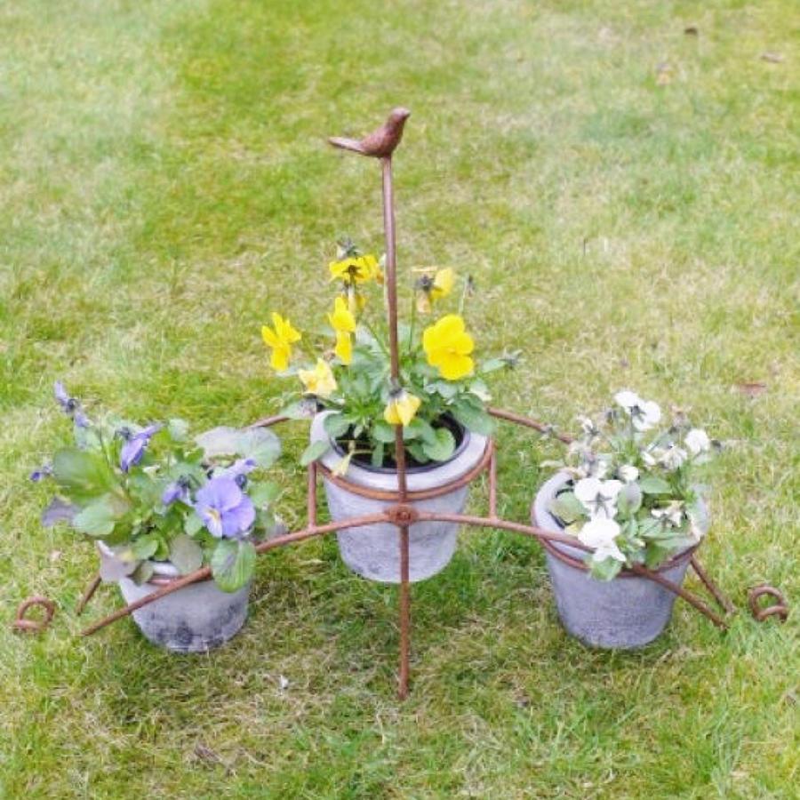 Rustic metal Bird planter with pots