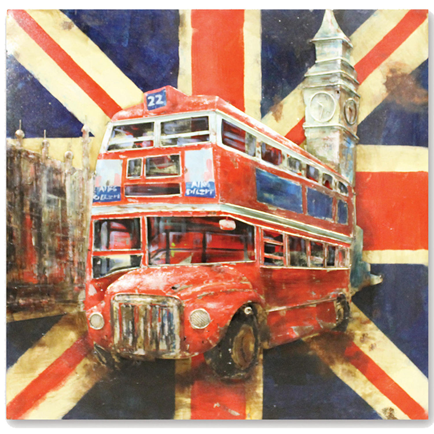 London 3D metal wall art featuring Red bus, Big Ben & Tower of London