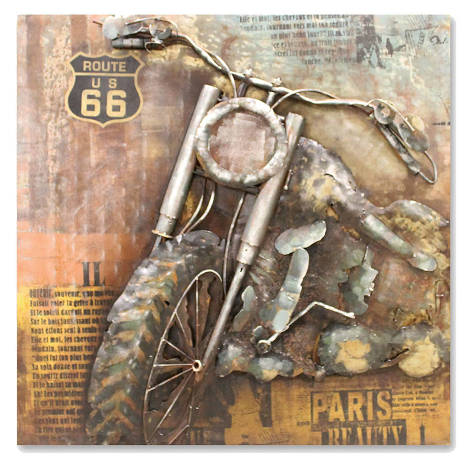 3D American Chopper metal wall art featuring Route 66