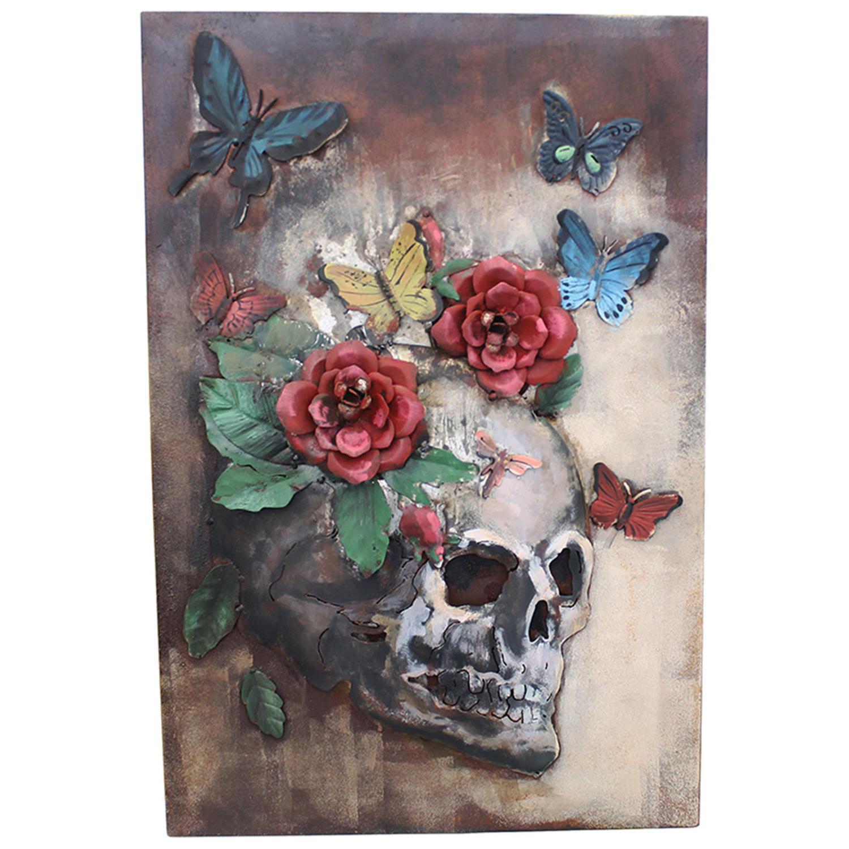 3D Metal wall art featuring a Skull with flowers & Butterflies