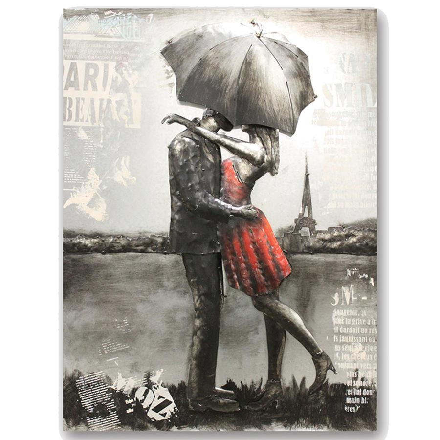 3D Romantic Couple in Paris metal wall art