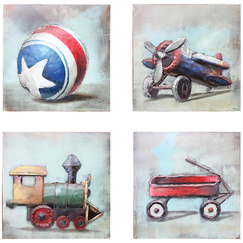 Set of four Children's vintage toys 3D metal wall art
