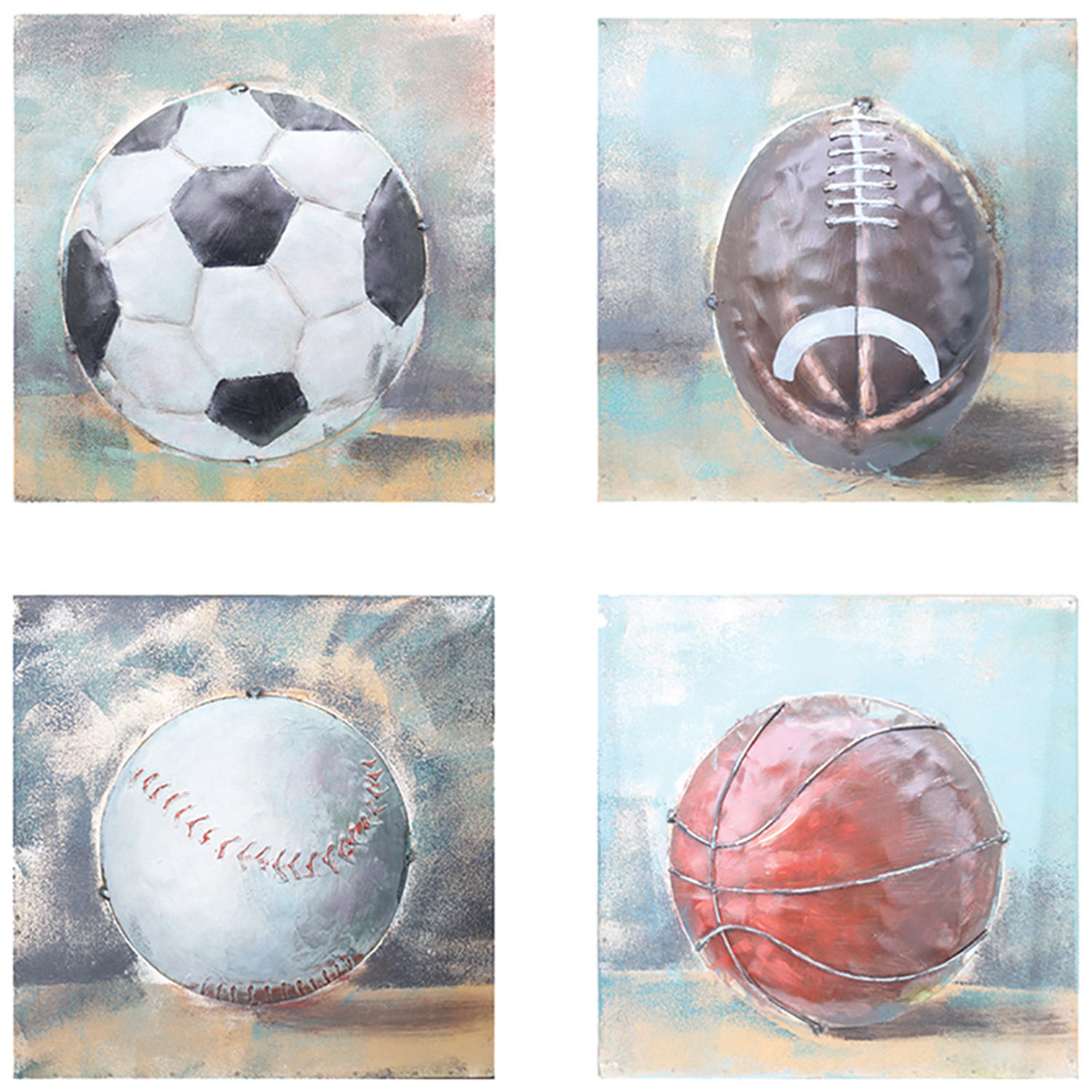 Set of four balls of Sport 3D metal wall art