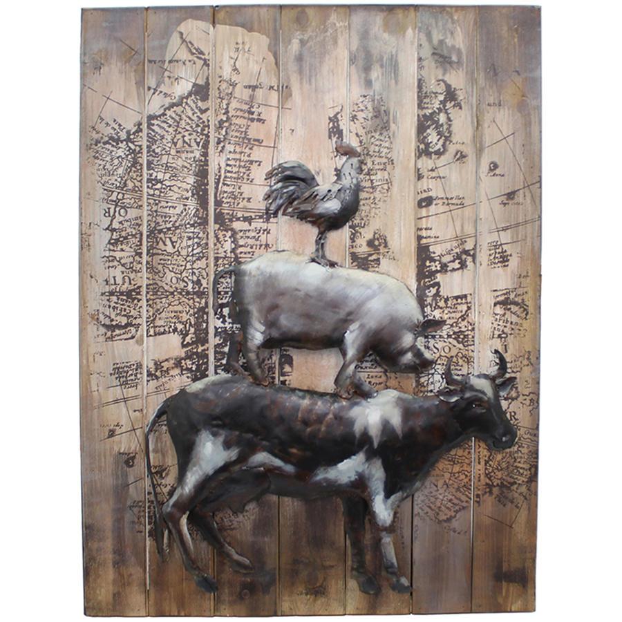 3D Farmyard Animals metal and wood wall art