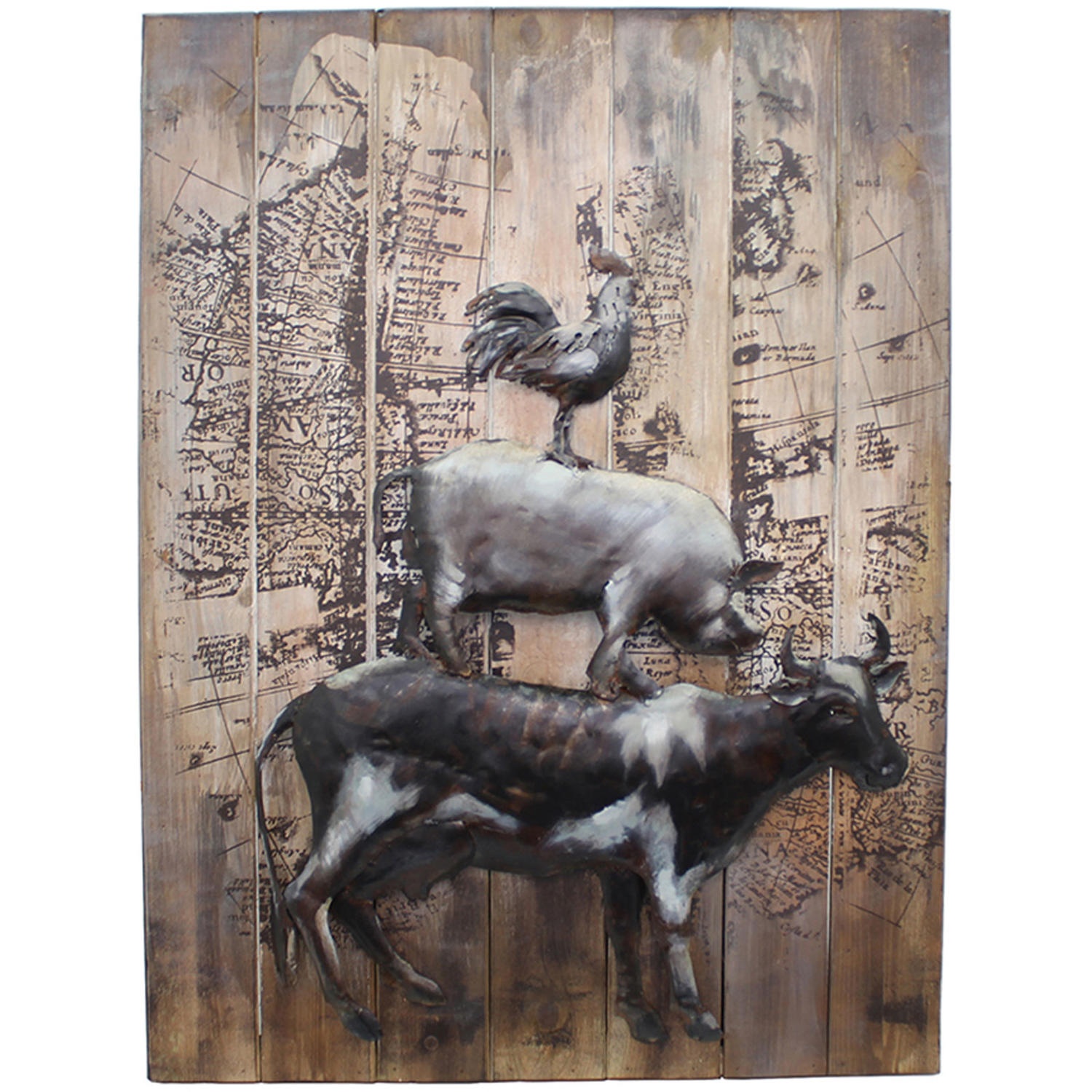 3D Farmyard Animals metal and wood wall art
