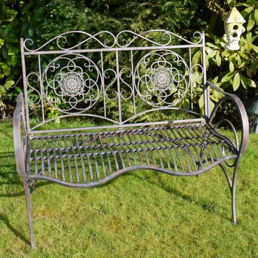 Antique aged effect metal garden bench