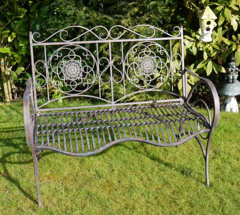 Antique aged effect metal garden bench
