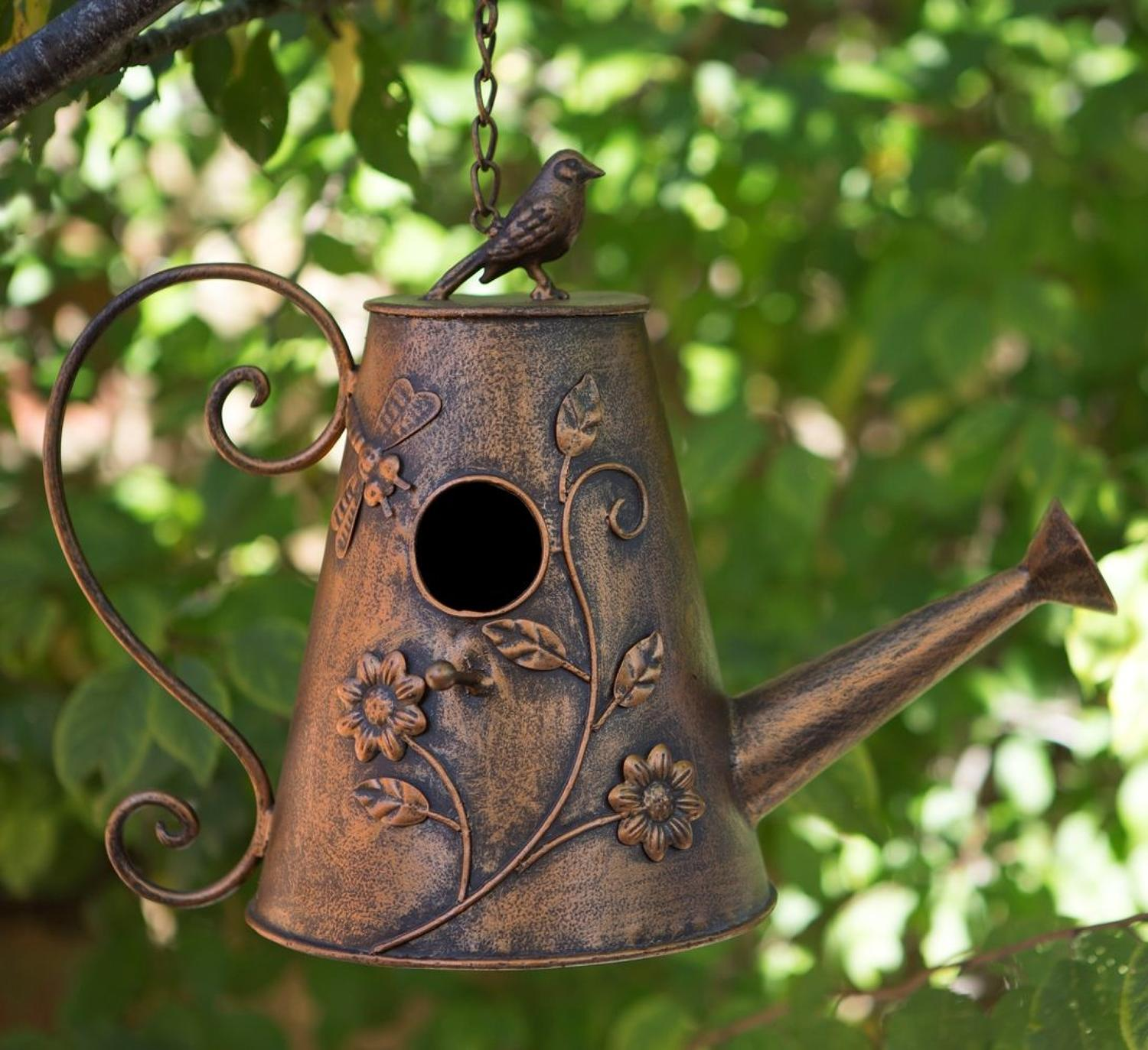 Metal watering can Bird house
