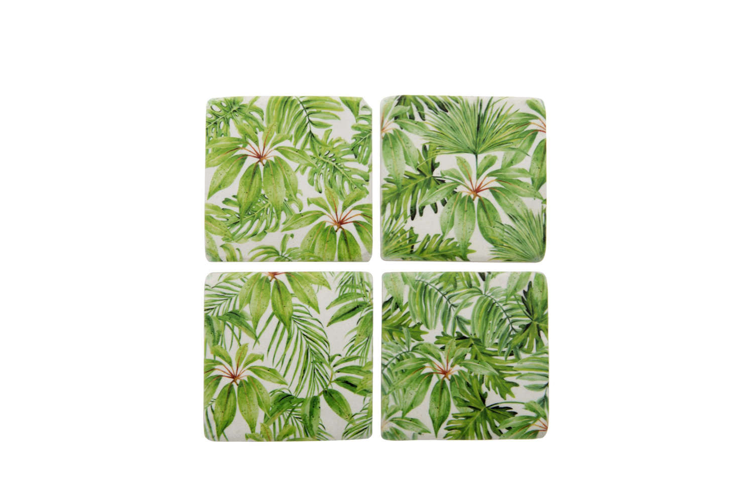 Set of four ceramic Palm Coasters