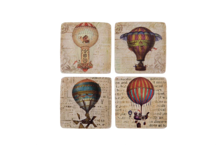 Set of four ceramic Airship Coasters