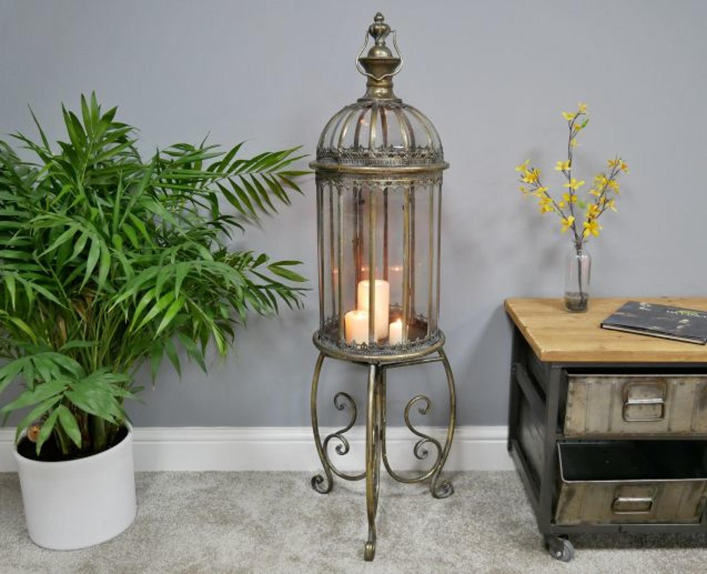 Bronze metal lantern on stand