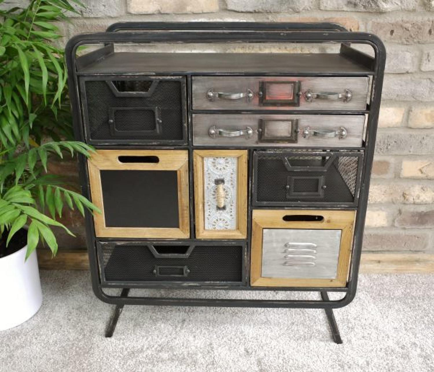 Industrial metal eight drawer cabinet