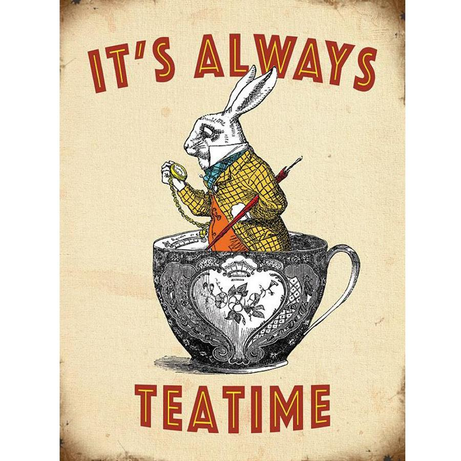 Alice in Wonderland, It's Always Teatime,metal wall sign